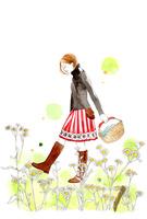 散歩をしている女の子