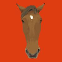 オレンジ背景の馬