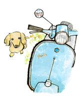 犬とスクーター