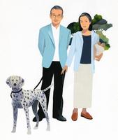 犬の手綱を持つ男性と女性