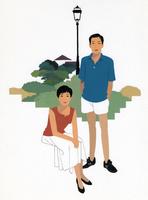 夏服の男性と女性のポートレート