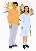 若い男性と女性のポートレート 02655000011| 写真素材・ストックフォト・画像・イラスト素材|アマナイメージズ
