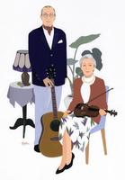 楽器を持つ男性と女性のポートレート