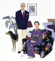 スーツの男性と着物の女性のポートレート