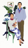 男性と赤ちゃんを抱く女性のポートレート