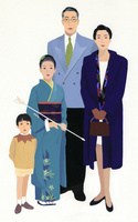 4人家族のポートレート 着物を着た女の子