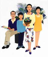 4人家族のポートレート 花を持つ女性