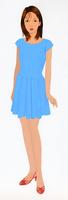 青いワンピースを着た女性