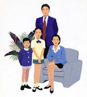 4人家族のポートレート 02655000045| 写真素材・ストックフォト・画像・イラスト素材|アマナイメージズ