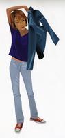 ジャケットを羽織る女性