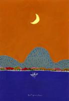 月と船の浮かぶ海