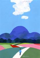 鮮やかな丘と山