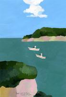 島と船が浮かぶ海