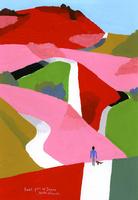 鮮やかに染まる丘を散歩する人と犬