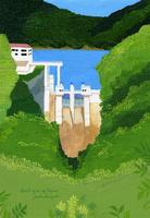 緑に囲まれたダムのある風景