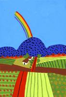 虹のかかる山