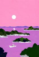 夕日が沈む松島