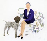 犬とソファに座る女性 02655000150| 写真素材・ストックフォト・画像・イラスト素材|アマナイメージズ