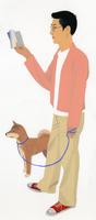柴犬と本を読む眼鏡の男