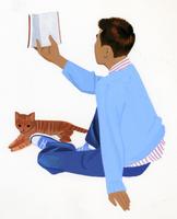 猫と本を読む男性の後ろ姿 02655000184| 写真素材・ストックフォト・画像・イラスト素材|アマナイメージズ
