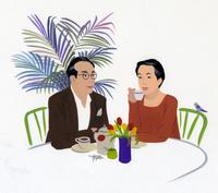 ティータイムを楽しむ夫婦