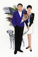 犬を連れた女性と花束を持った男性 02655000200| 写真素材・ストックフォト・画像・イラスト素材|アマナイメージズ