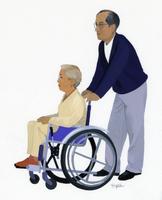 車椅子に乗った女性と押す男性