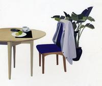 テーブルと背広のかけてあるイス