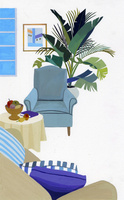 一人掛けソファのあるリビングルーム 02655000217| 写真素材・ストックフォト・画像・イラスト素材|アマナイメージズ