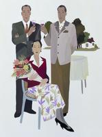 パーティ中の男性二人と女性一人 02655000274| 写真素材・ストックフォト・画像・イラスト素材|アマナイメージズ