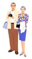 カメラを持つ男性と女性