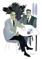 コーヒーカップを持つ男性2人