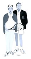 テニスラケットを持つ女性と男性