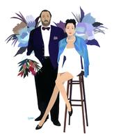 ドレスアップして花束を持つ男性と女性