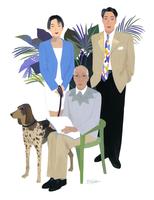 男女3人と犬