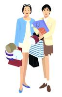 たくさんのショッピングバッグを抱える女性2人