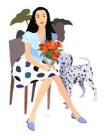 花束を持つ女性と犬