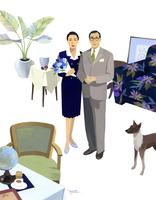 室内に立つ男性と女性と犬 02655000387| 写真素材・ストックフォト・画像・イラスト素材|アマナイメージズ