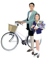 花束を抱える子供と自転車を押す女性
