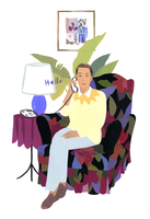 ソファに座り電話をかける男性 02655000397| 写真素材・ストックフォト・画像・イラスト素材|アマナイメージズ