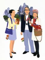 観光する男女3人