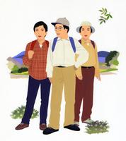 行楽地での男女3人