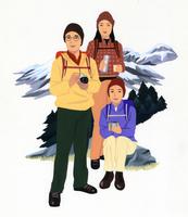登山する男女3人