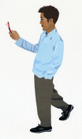 携帯電話を持つ男性 02655000435| 写真素材・ストックフォト・画像・イラスト素材|アマナイメージズ