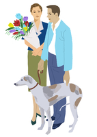 犬を連れた男性と花を持つ女性