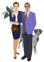 スーツ姿の男性と女性
