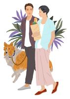 買い物帰りの男女と犬