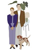 男性と女性と犬2
