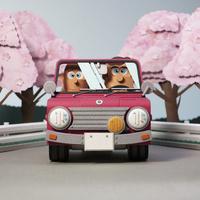 桜並木をドライブ