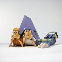 キャンプをするカップル